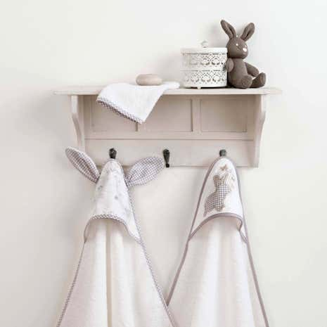 Dorma Bunny Meadow White Nursery Pack of Two Cuddle Robes
