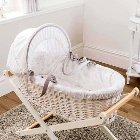 Dorma White Bunny Meadow Nursery Moses Basket and Coverlet