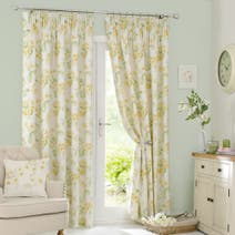 Ochre Primrose Lined Pencil Pleat Curtains
