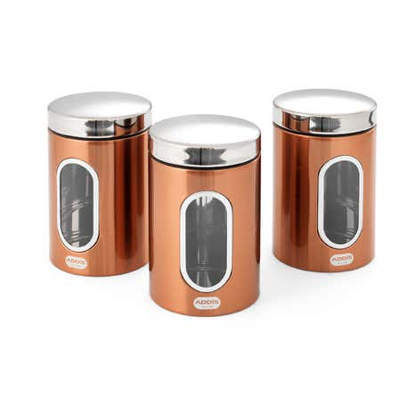 Addis Deluxe Copper Set of 3 Canisters