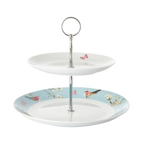 Beautiful Birds 2 Tier Cake Stand