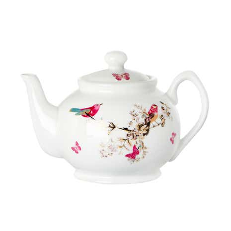 Beautiful Birds White Teapot