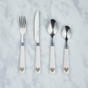 Country Heart White 16 Piece Cutlery Set