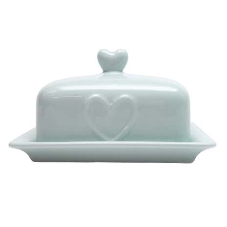 Country Heart Duck-Egg Butter Dish