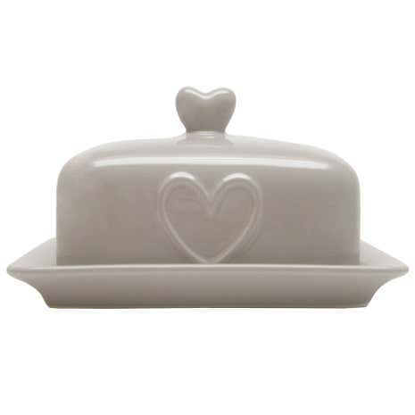 Country Taupe Heart Butter Dish