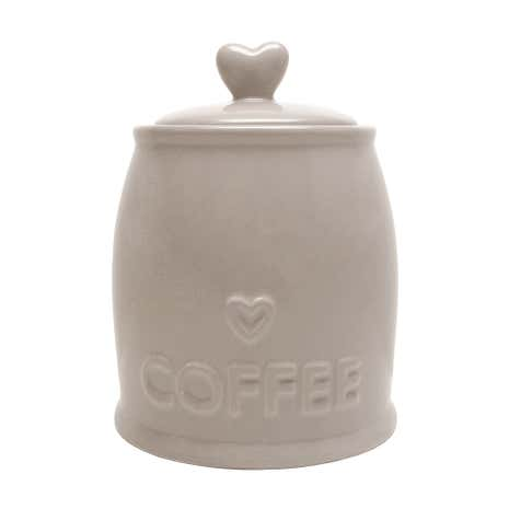 Country Taupe Heart Coffee Jar