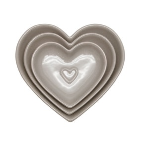 Country Taupe Heart Nesting Bowls