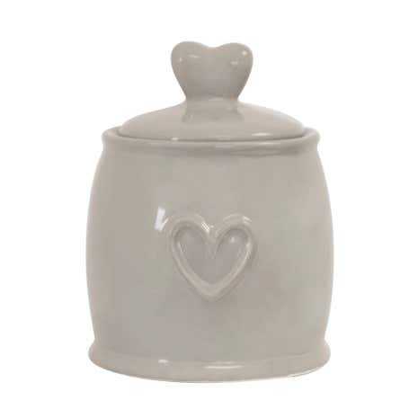 Country Taupe Heart Sugar Storage Jar