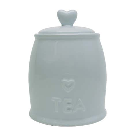 Country Heart Duck-Egg Tea Storage Jar