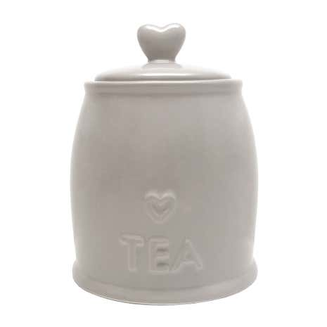Country Taupe Heart Tea Storage Jar