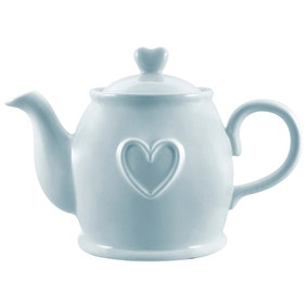 Country Heart Duck-Egg Teapot