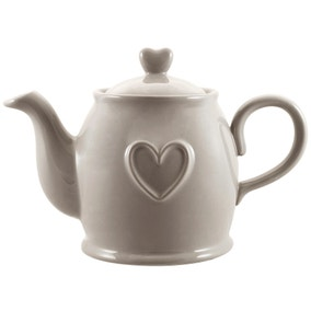Country Heart Taupe Teapot