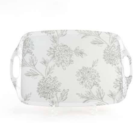 Etched Floral Large Tray