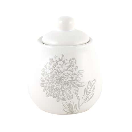 Etched Floral Sugar Pot