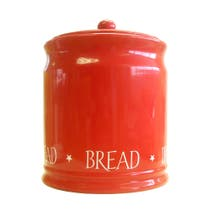 Red Vintage Text Bread Bin