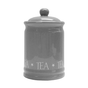 Grey Vintage Text Tea Canister