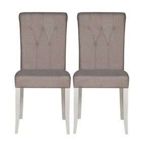 Eaton Walnut and Grey Button Back Pair of Upholstered Dining Chairs
