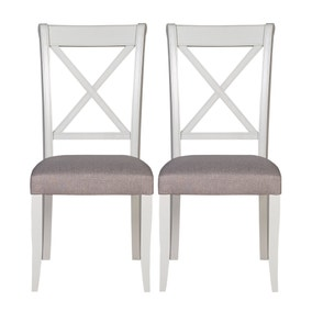 Eaton Soft Grey Pair of Cross Back Dining Chairs