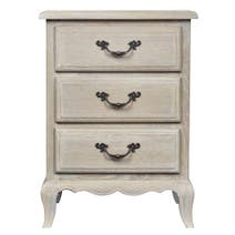 Annabelle Grey Wash Oak 3 Drawer Bedside Table