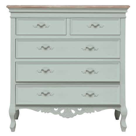 Camille Duck Egg 5 Drawer Chest