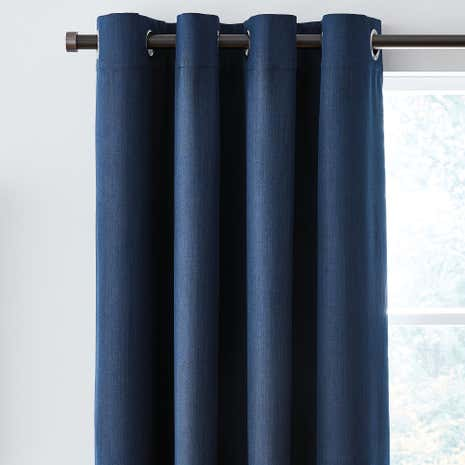 Solar Navy Blackout Eyelet Curtains