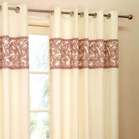 Evie Heather Butterfly Thermal Eyelet Curtains