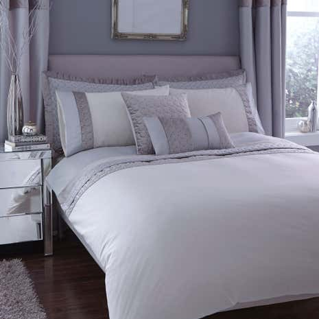 vienna emboridered silver duvet cover dunelm. Black Bedroom Furniture Sets. Home Design Ideas