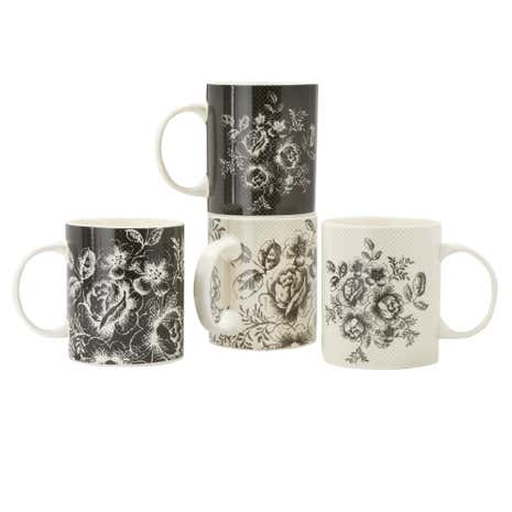 Set of Four Black and White Mugs