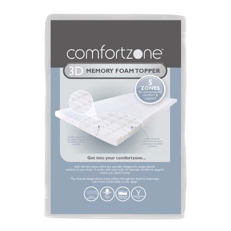 comfortzone 3d memory foam topper. Black Bedroom Furniture Sets. Home Design Ideas