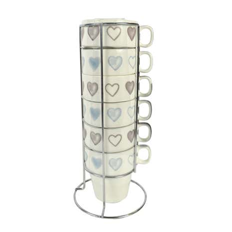 Set of 6 Heart Stacking Mugs