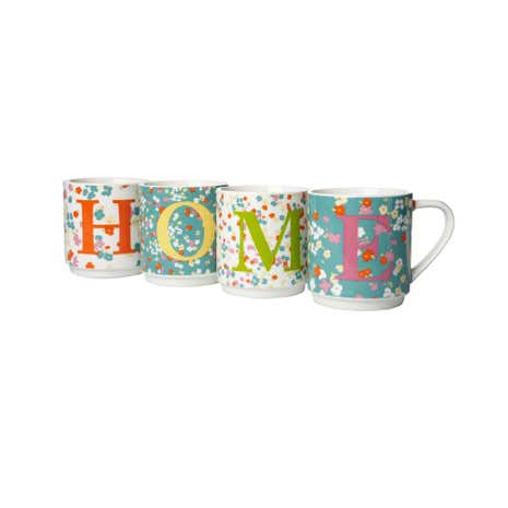 Set of 4 Home Stacking Mugs