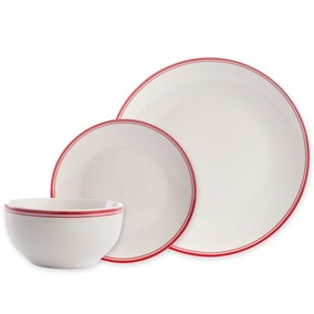 Red Band 12 Piece Dinner Set