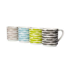 Wave Pack of 4 Stacking Mugs