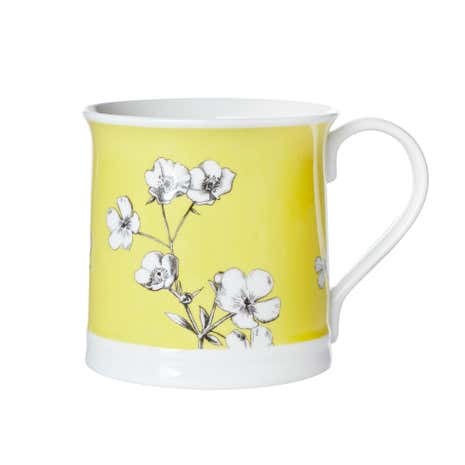 Yellow Floral Botanical Mug