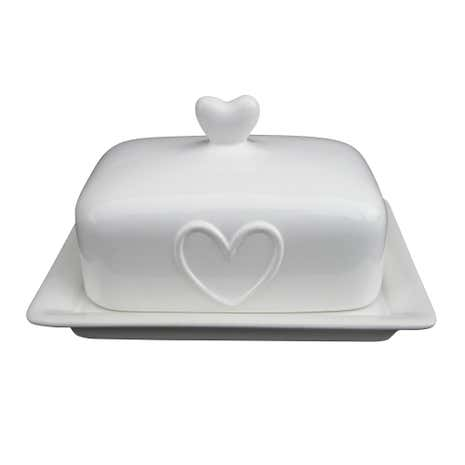 Country White Heart Butter Dish