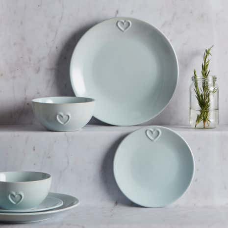 Country Heart Duck-Egg 12 Piece Dinner Set