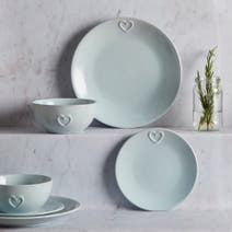 Country Duck-Egg Heart 12 Piece Dinner Set