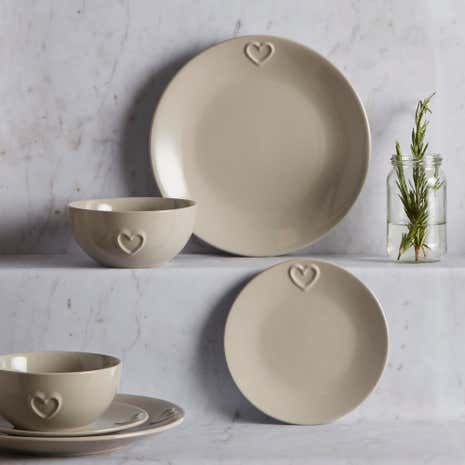Country Taupe Heart 12 Piece Dinner Set
