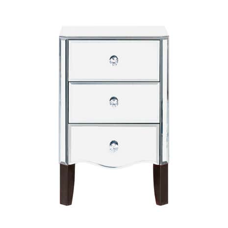 Viola mirrored 3 drawer bedside table dunelm for Mirror bedside cabinets