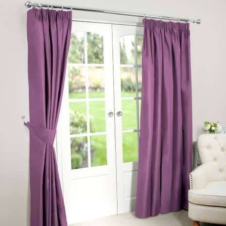 Nova Mauve Blackout Pencil Pleat Curtains