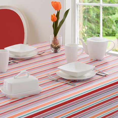 Aster Striped PVC Tablecloth