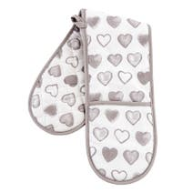 Country Taupe Heart Double Oven Glove