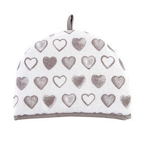 Country Taupe Heart Tea Cosy