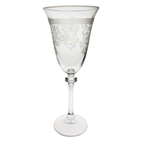 Etched Leaf Wine Glass