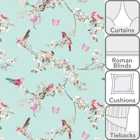 Beautiful Birds Duck-Egg Fabric