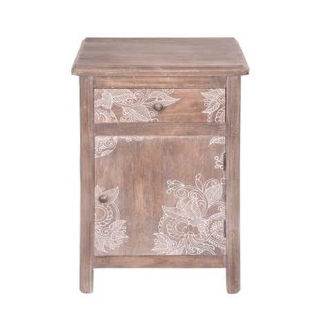 henna washed wood bedside table dunelm. Black Bedroom Furniture Sets. Home Design Ideas