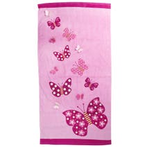 Pink Applique Butterfly Towel