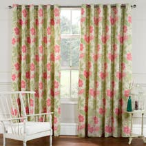 Green Honolulu Lined Eyelet Curtains