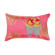 Fuchsia Parrot Duo Faux Silk Cushion
