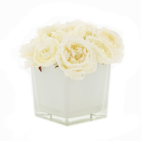 Hotel Ranunculus and Roses in Cube Vase